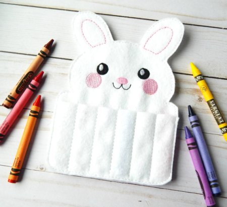Felt bunny crayon roll up and other candy free Easter gifts