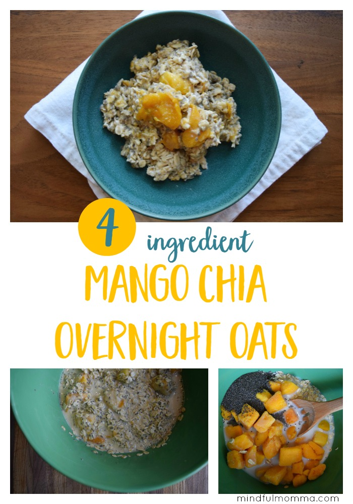 Easy, kid-friendly overnight oats recipe using frozen mango, chia seeds, almond milk and rolled oats. | healthy oatmeal breakfast recipe  via @MindfulMomma