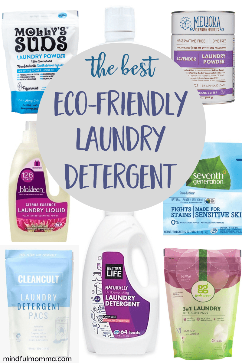 Find the best eco-friendly laundry detergent that really works! Review includes laundry powders, liquids and pods, plus sports laundry detergent - so you can find the type that works best for your family's needs. | #cleaning #nontoxic #laundry #ecofriendly via @MindfulMomma