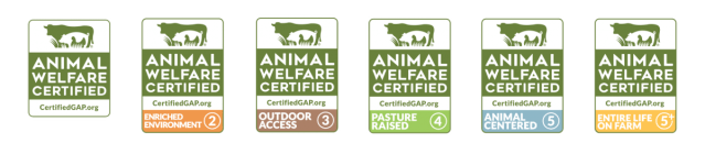 Global Animal Partnership labels Step 1 to Step 5+
