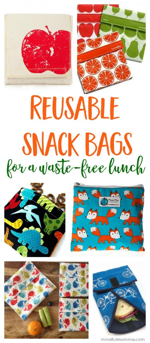 Roundup of reusable snack bags that are perfect for back-to-school lunches, on-the-go snacks, traveling and more! | Snack sacks | Sandwich wraps | waste free lunch | zero waste | reusable products | kids lunch gear