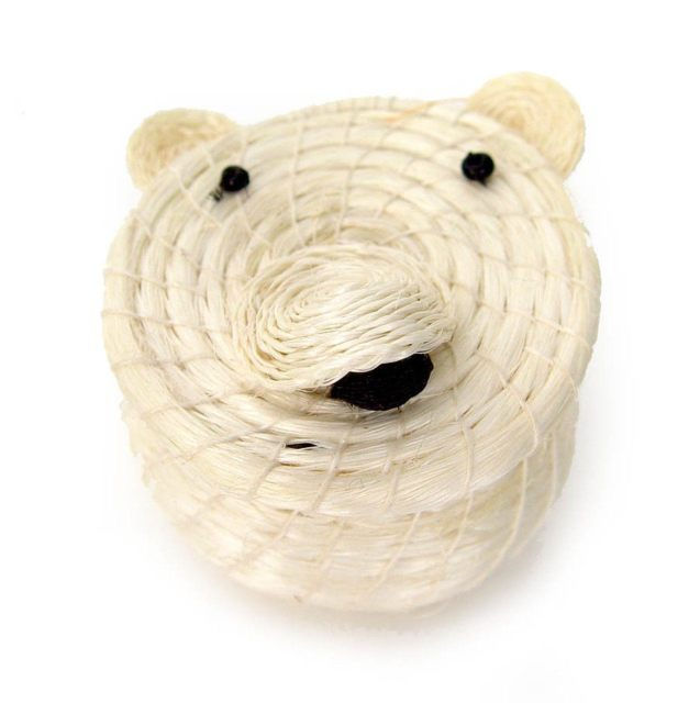 Lidded polar bear basket