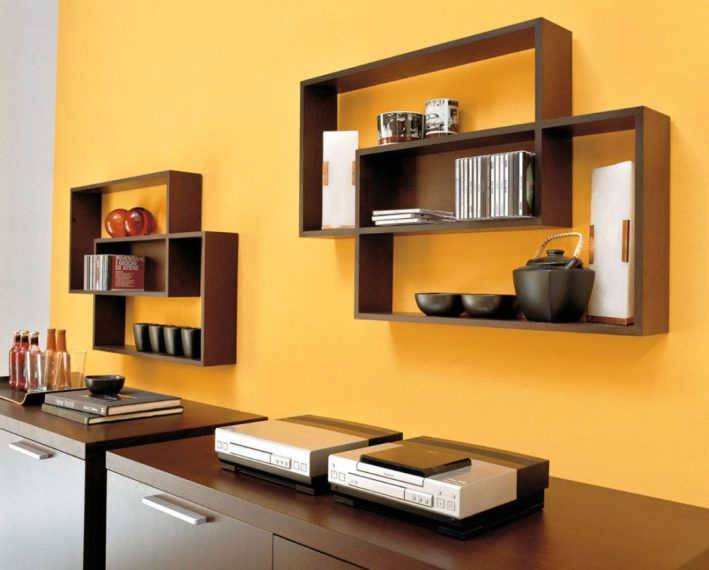 decorate home wooden bookshelves