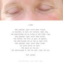 Met gesloten ogen…