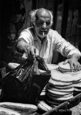 Palestinian selling bread, Old City - Jerusalem, 1990