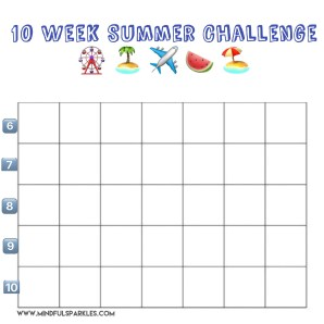 Blank Summer Challenge Grid Numbered 6-10
