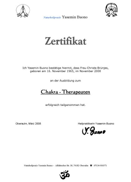 Zertifikat Chakratherapeutin