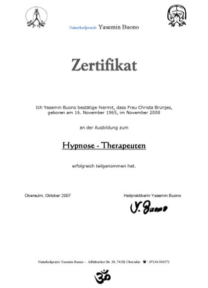 Zertifikat Hypnosetherapeutin