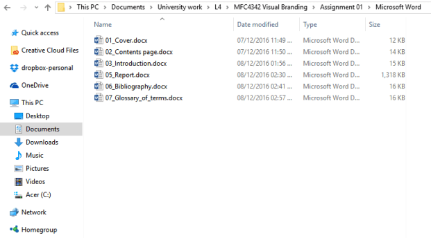 Inside my 'Microsoft Word' folder.