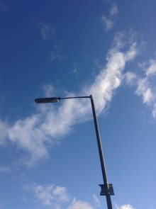 This is a street light right outside my home - I live right over the valley so its usually clear and blue skies around my home when sunny.