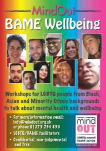 Mindout BAME wellbeing poster, a rainbow background with faces of BAME people and text about the workshops