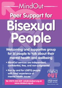 purple and pink poster advertising peer support group for bisexual people