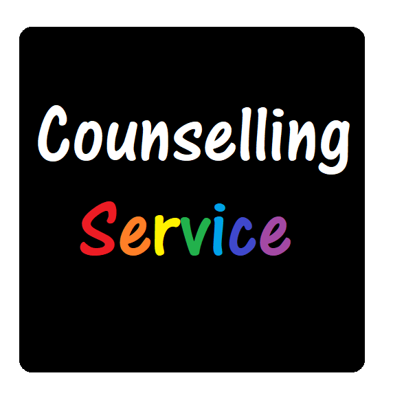 black square with counselling service written in rainbow writing