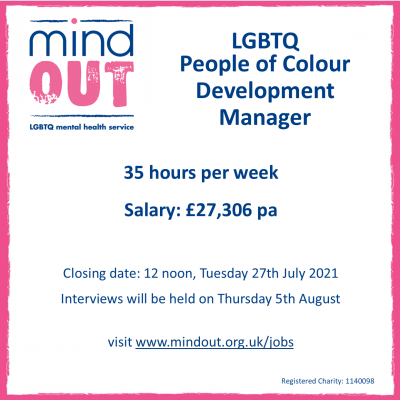 Image has a pink border, and features the MindOut logo. In blue writing it shows the job role, and includes details of the post including hours and salary, closing date and date for interviews. Bottom of the image includes the MindOut website and charity number