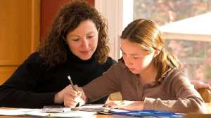 Mother and child and after school homework