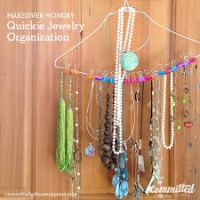 Jewelery ooohund on a hanger using binder clips