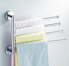 Swing out towels bars provide space between each towel so they can dry quickly