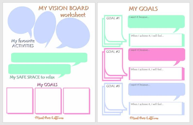 Vision Board for Kids Goal Setting Worksheet