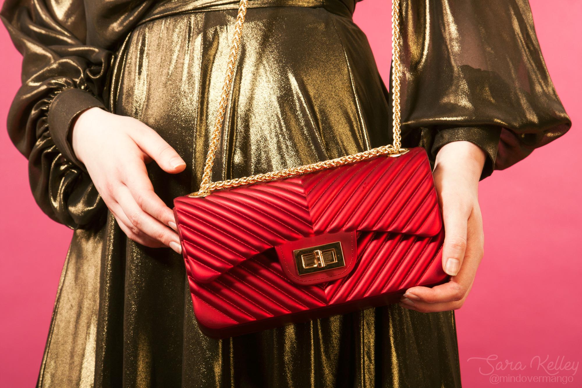 Cheap Inexpensive Red Vegan Holiday Purse Handbag