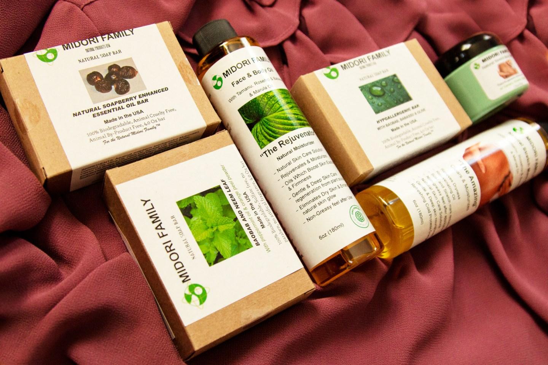 Clean Vegan Organic Beauty Midori Family Soaps Oils