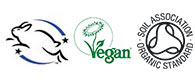 Leaping Bunny Vegan Society Organic Soil Certified