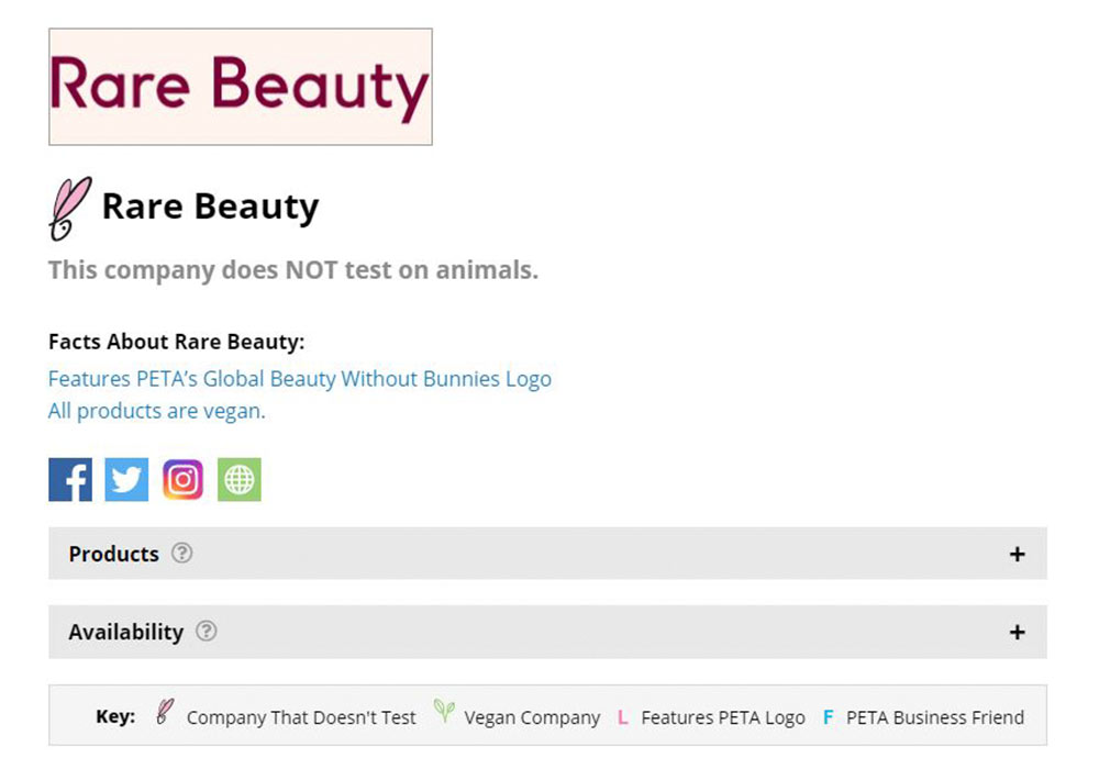 Rare Beauty PETA Certified