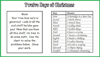 free twelve days of chirstmas math word problems minds in bloom. Black Bedroom Furniture Sets. Home Design Ideas