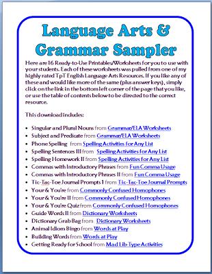 FREE Grammar & Language Arts Worksheets - 16 Printable Pages