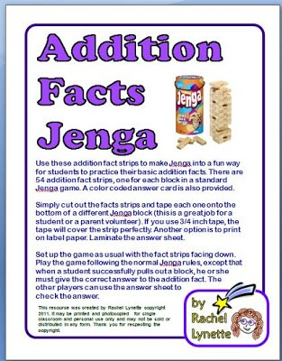Free Jenga Multiplication and Addition Games