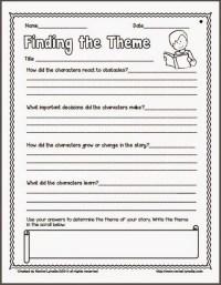 Identifying Theme Worksheets - wiildcreative