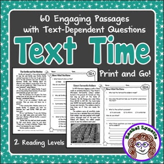 Text Time is the perfect reading skills practice that you've been looking for! It includes 60 reading passages, which really translates to 120 passages because there are two levels for each. Click through to read more about what's included in this awesome reading skills review resource!