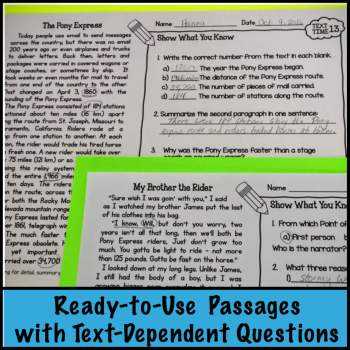 Text Time Close Reading Passages
