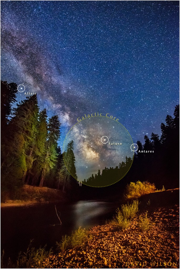 An annotated night sky in this version of the scene showing Milky Way over towering Redwoods along the banks of the Eel River at the California Federation of Women's Clubs Grove in Humboldt Redwoods State Park, California. June 2017.