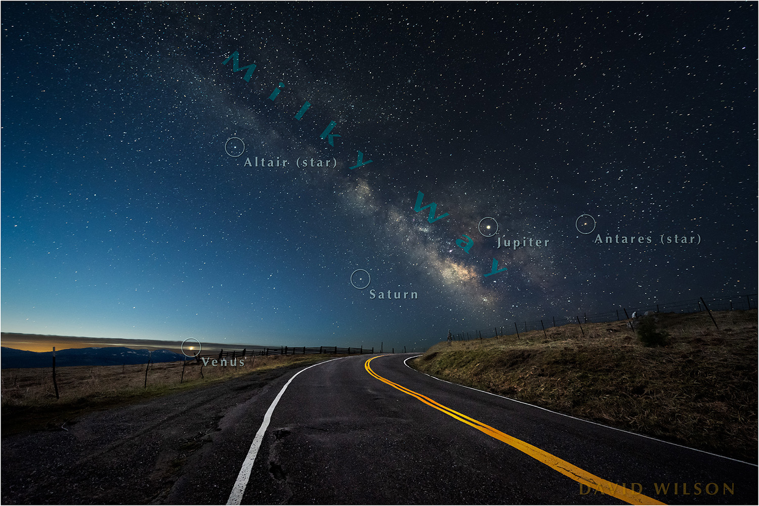 Stars labeled-Rural Road beneath Milky Way