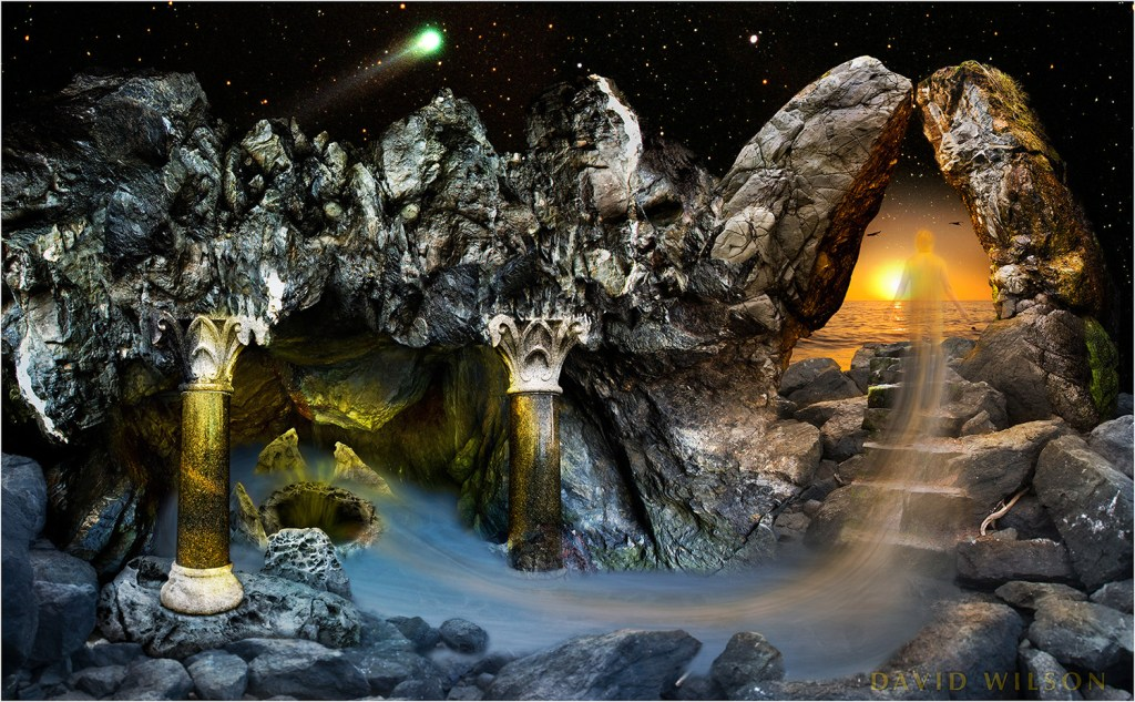 A composite image shows a fanciful cave scene beneath comet Hayakutake (the comet was in 1996).