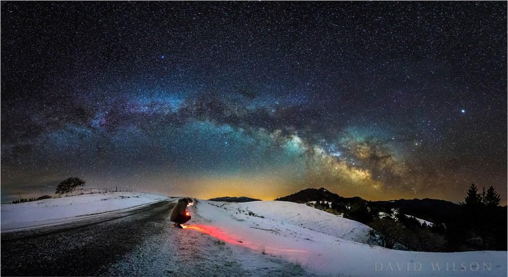 Snowy self portrait beneath Milky Way