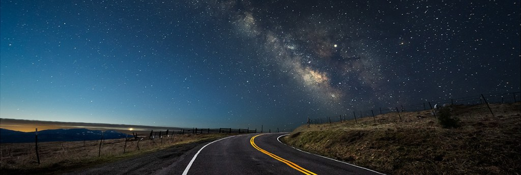 Dawn's early light chases the Milky Way over the Kneeland Road (panoramic crop)