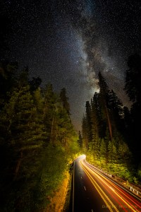 US Highway 101, the Redwood Highway, beneath the starry skies.