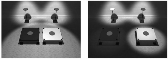 Figure 5: Two possible sources of the brightness contrast effect from Purves and Lotto 2003 p. 56. The right scene is, in our environment, the more common cause of the stimulus.