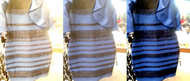 Figure 4: The original image that caused the controversy over the colour of the dress appears in the middle. It looked black-blue (see image on the right) to some but white-gold to others (see image on the left). Adopted from Wired.com http://www.wired.com/2015/02/science-one-agrees-color-dress/