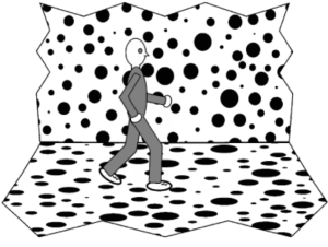 Durgin's (2009) illustration of a subject walking in a virtual hallway.