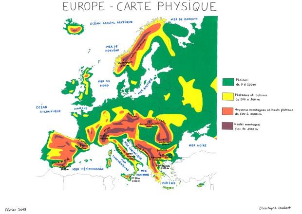 topographie du territoire européen