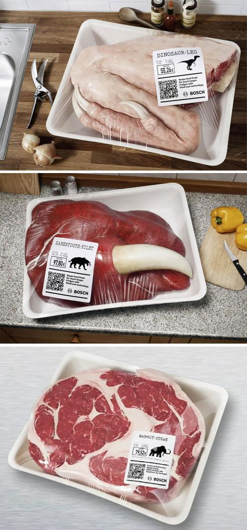 Образцы мяса динозавров для рекламы VitaFresh от Bosch.