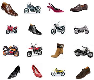 Образцы туфлей и мотоциклов, показываемых в исследовании