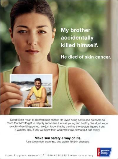 реклама Американского общества борьбы с раком. Она предупреждает об опасности солнечной радиации