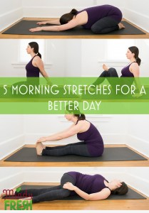 stretches including child's pose, chest opener, figure 4 stretch, hamstring stretch and spinal twist