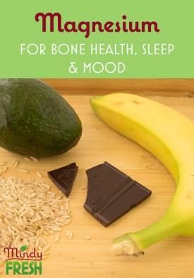 Magnesium sources including banana, dark chocolate, brown rice, and avocado