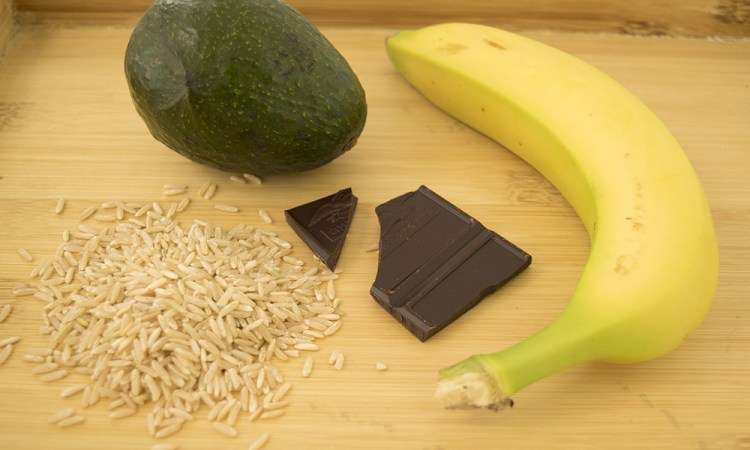 Banana, dark chocolate, avocado, and brown rice