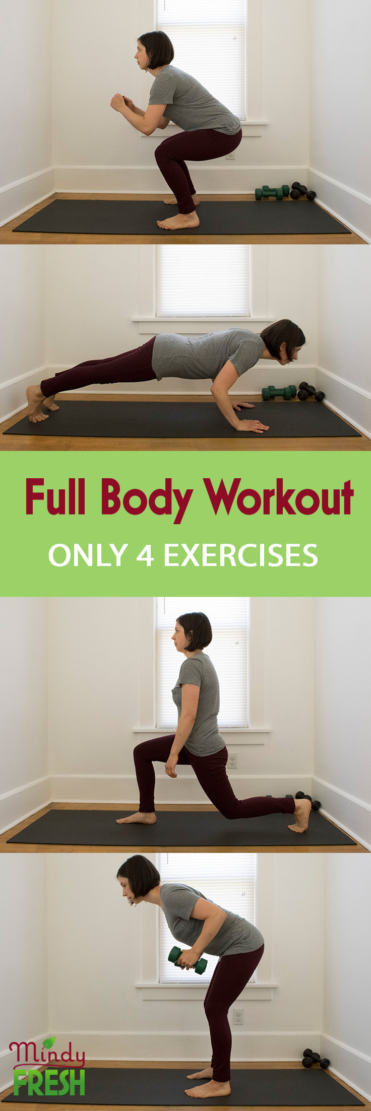 4 exercises to a full body workout complete with squat, push up, lunge, and row exercises