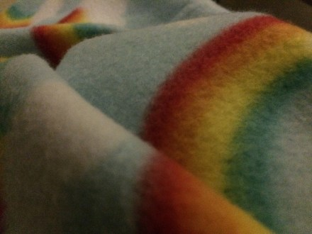 """rainbows, fluffy clouds, and unicorns..."" I used these words to explain to the doctor how I hoped Gabriel would experience his death, and she picked out this blanket for him."